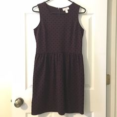 LOFT velvet-polka dot dress LOFT velvet-polka dot dress. Maroon/Burgundy color. Worn once. LOFT Dresses