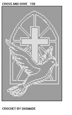 Cross and dove Filet Crochet Charts, Crochet Doily Patterns, Crochet Cross, Crochet Art, Thread Crochet, Crochet Designs, Crochet Doilies, Free Crochet, Crochet Curtains