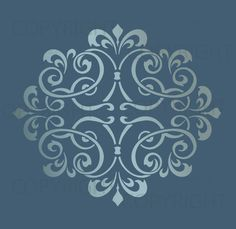 LARGE WALL DAMASK STENCIL PATTERN FAUX MURAL DECOR #1012 (Choose Custom Size)