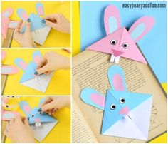 Paashaas Boekenlegger – Easter Bunny Corner Bookmark – DIY Origami for Kids – … Easter Bunny Bookmark – Easter Bunny Corner Bookmark – DIY Origami for Kids – Easy Peasy and Fun Diy Origami, Origami Rose, Bunny Origami, Design Origami, Useful Origami, Origami Tutorial, Easter Arts And Crafts, Bunny Crafts, Easter Crafts For Kids