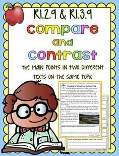 Compare and Contrast the Main Points in Two Different Texts Common Core Reading 2nd & 3rd Grade RI.2.9 & Ri.3.9
