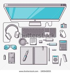 Flat design modern vector illustration concept of creative office workspace, workplace with computer. Top view of desk background with lapto...