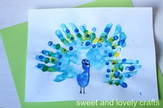 Handprinted peacocks.  P is for peacock, abc book page
