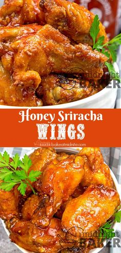 Air Fryer Honey Sriracha Wings – The Midnight Baker – Hot! Yummy and tangy sriracha chicken wings easily done in the air fryer or oven. Teriyaki Chicken Wings, Sriracha Wings, Air Fry Chicken Wings, Honey Garlic Chicken Wings, Honey Sriracha Chicken Wings, Chicken Drumsticks, Chicken Tacos, Chicken Salad, Chicken Nuggets