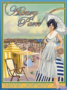 NJ Aurelio Grisanty Vintage Art Deco Style Travel Poster Cape May