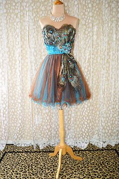 Turquoise Peacock Prom Homecoming Evening Pageant Short Bridal Gown Dress L 12 Cheap Homecoming Dresses, Grad Dresses, Prom Party Dresses, Evening Dresses, Wedding Dresses, Dress Prom, Dance Fashion, Fashion Dresses, Women's Fashion