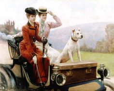The Goldsmith Ladies in the Bois de Boulogne in a Peugot.  Julius LeBlanc Stewart (1855-1919) American painter who spent his career in Paris. Oil on canvas - Musee Nat'l de la Voiture et du Tourisme, France
