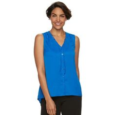 Women's Dana Buchman Button-Front Crepe Blouse ($13) ❤ liked on Polyvore featuring tops, blouses, blue, dana buchman, dana buchman blouse, sleeveless tie blouse, blue sleeveless blouse and sleeveless blouse