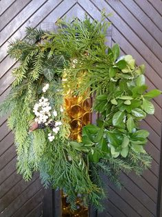 My natural Greenery & Nordic door decoration & knocker for Christmas   Evergreen & Snowberries (Symphoricarpos)