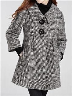 Stylish Turn-Down Collar Houndstooth Long Sleeve Women's Woolen Coat Stylish Clothes For Women, Stylish Outfits, Winter Coats Women, Coats For Women, Trendy Fashion, Winter Fashion, Womens Fashion, Mode Outfits, Fashion Outfits