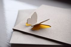 Simple Butterfly 3D in Yellow - Recycled Greeting Card via Etsy