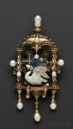 Renaissance Revival Gold, Enamel, and Diamond Architectural-style Pendant, depicting an enamel swan wrapping its neck around a rose-cut diamond cross, the blue enamel ground with rose-cut diamond sun, all within a tabernacle-form mount bordered by twisted columns with rose-cut diamond and pearl swags and suspending pearl drops, engraved foliate accents, lg. 3 in., with indeterminate signature, (alterations).