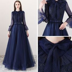 Modern / Fashion Navy Blue Evening Dresses 2018 A-Line / Princess Square Neckline Long Sleeve Bow Sash Floor-Length / Long Ruffle Backless Formal Dresses - evening dress Prom Dresses With Sleeves, Modest Dresses, Casual Dresses, Formal Dresses, Backless Dresses, Blue Evening Dresses, Evening Gowns, Blue Dresses, Hijab Dress Party