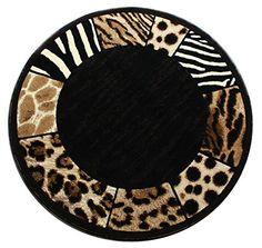 Modern Animal Print, Round Area Rug, Design S 73 Black (5 Feet Diameter)