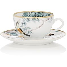 Hermès Carnets D'Equateur Tea Cup & Saucer Set ($315) ❤ liked on Polyvore featuring home, kitchen & dining, drinkware, no color and hermès