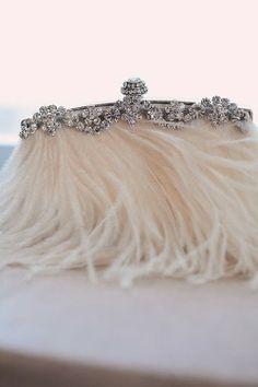 ostrich feather & gem purse
