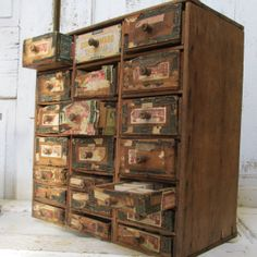 Antique Cigar Box Cabinet Drawers Shabby Chic By AnitaSperoDesign, $350.00