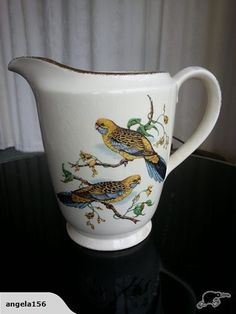 LARGE CROWN LYNN JUG WITH NATIVE BIRDS