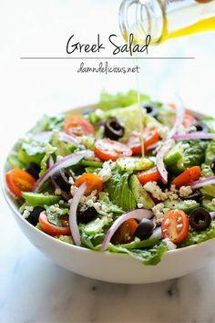 Easy Greek salad with a slightly sweet salad dressing. #salad #healthy #recipe