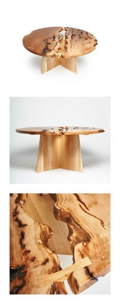 Live edge circular sycamore dining table. Beech base. 66 inch diameter.