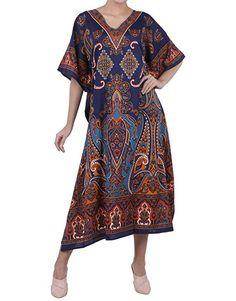Cotton Caftan Cover Up Beach Hippie Robe Boho Taille 14 16 18 20 22 24