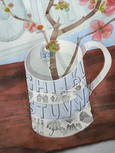 Angie Lewin is a lino print artist, wood engraver, screen printer and painter depicting the UK's natural flora in linocut and other limited edition prints. Lino Print Artists, Angie Lewin, Alphabet Mugs, Watercolours, Letterpress, Art Images, Art Lessons, Printmaking, Art For Kids