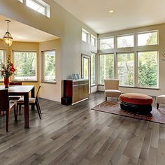 This pre-oiled hardwood flooring from Accent is made of silver maple and features a beautiful Habano color. Durable and quick to install, the large p. Portland Oregon, Hardwood Floors, Wood Flooring, Fixer Upper, Dining Bench, Windows, Interior, Room, House