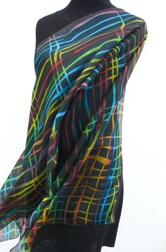 Black silk scarf hand painted stripes yellow blue red by Irisit