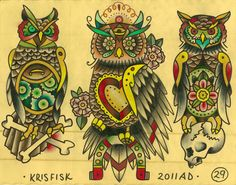 Traditional Flash Tattoo Designs | done between 07 and 2010 traditional flash book done in color pencil ...