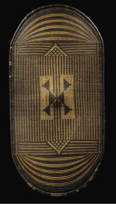 Africa | Shield from the Mangbetu people of DR Congo | Woven plant fibers with natural pigments