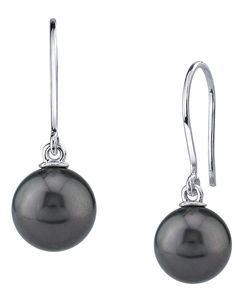 fcbbe85f9 THE PEARL SOURCE 14K Gold Round Genuine Black Tahitian South Sea Cultured  Pearl Linda Earrings for