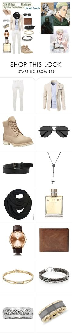 """Day 3 Attack on Titan Challenge"" by vampirekitty34 ❤ liked on Polyvore featuring Topman, Timberland, EyeBuyDirect.com, Yves Saint Laurent, 21 Men, Chanel, Kennett, FOSSIL, StingHD and Blue Nile"