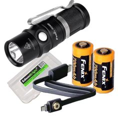 Fenix RC09 550 Lumen USB rechargeable CREE LED Flashlight EDC with 2 X Fenix 16340 Li-ion batteries, and EdisonBright BBX3 battery carry case bundle -- Check this awesome product by going to the link at the image.
