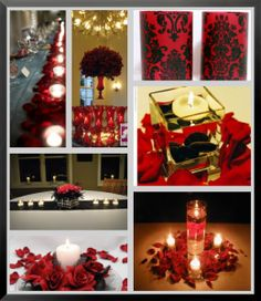 Centerpiece ideas for a black and red themed reception.