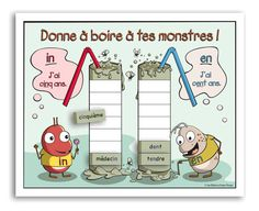 SÉrie : Les monstres - Jeu de lecture - premier cycle primaire Montessori, Alternative Education, French Grammar, French Immersion, Teaching French, Math For Kids, Word Work, Phonics, Vocabulary