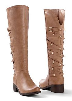 Boots with some edge. Venus criss cross studded boot.
