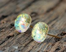 Glass stud earrings, post earrings, shining earrings, sparkly earrings, dichroic glass earrings, tiny post earrings, bridesmaid earrings
