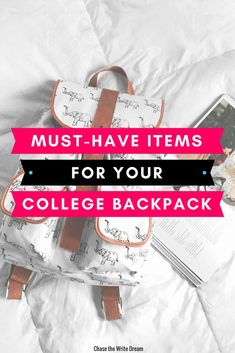 #college backpack essentials. Student supplies for a successful education, school organization
