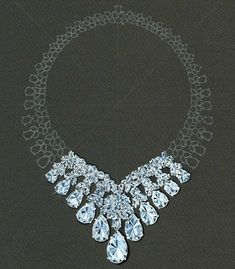 Copy of a watercolor rendering of a diamond necklace by A.V.Shinde for Harry Winston, 1991. Courtesy of Madonna/Helmut Newton.