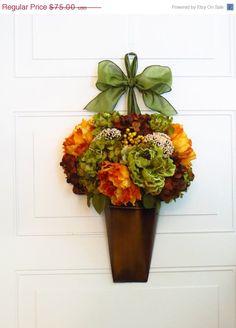 ON SALE Fall Wreath, Metal Wall Pocket, Autumn Decor, Hydrangea Wreath, Door Decor, Floral Wall Arrangement, Peonies