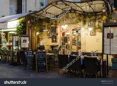 Mougins, France - October 31, 2014: Street Cafe At Night Стоковые фотографии 335854457 : Shutterstock