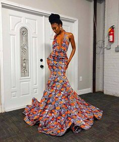 Ankara Dress Styles, African Prom Dresses, Backless Prom Dresses, African Dresses For Women, African Attire, African Fashion Ankara, African Print Fashion, Africa Fashion, Dashiki Shirt