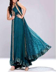 Turquoise Embroidered Anarkali Frock Crinkle Chiffon Party Special Dress