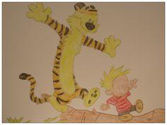 Calvin and Hobbes watercolor, original watercolor, signed watercolour, orange watercolor, animal watercolor, tiger watercolor - pinned by pin4etsy.com