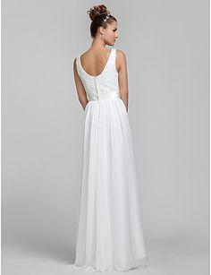 Lanting Невеста В пол Шифон / Кружева Платье для подружек невесты Футляр Вырез…