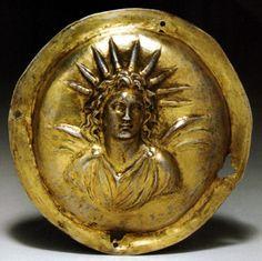 roundel with Alexander-Helios, Greek, Hellenistic Period, gilt silver, circa late 4th Century B.C.