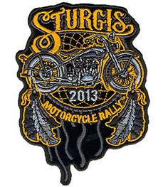"""[Single Count] Custom and Unique (4.0 Inches) """"Biker"""" Dream Catcher 2013 Sturgis Motorcycle Rally Iron On Embroidered Applique Patch {Black, Gold and Gray Colors} mySimple Products http://www.amazon.com/dp/B013RN1RH6/ref=cm_sw_r_pi_dp_BCeIwb0FD2SWD"""