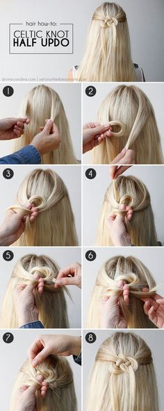See how to create this cool Celtic knot for a half-updo with wow!