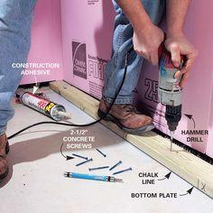 Basement Finishing: How to Finish, Frame, and Insulate a Basement (DIY) Insulating Basement Walls, Framing Basement Walls, Basement Insulation, Wet Basement, Small Basement Remodel, Basement Layout, Basement Stairs, Basement Bedrooms, Basement Renovations