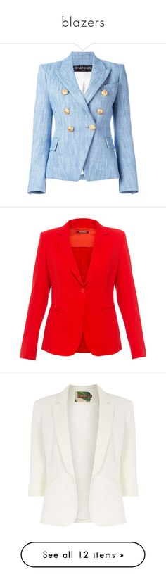 """blazers"" by selfaware ❤ liked on Polyvore featuring outerwear, jackets, blazers, embellished jacket, balmain blazer, blue blazer, embellished denim jacket, denim jacket, red and red blazers"
